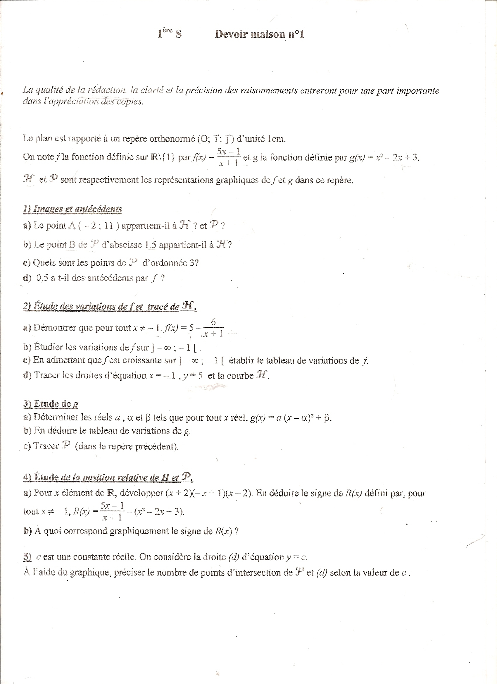 dm de maths 6eme correction